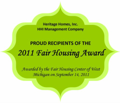 HHI Management Company 2011 Fair Housing Award West Michigan